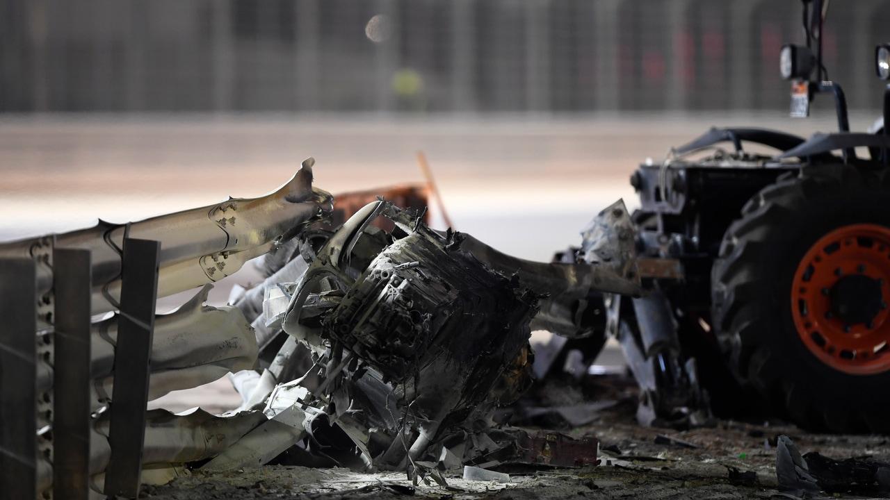 Así quedó el coche de Grosjean en el GP de Baréin