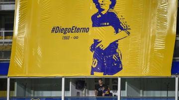 Palco de Maradona en la Bombonera
