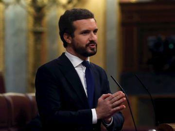 El líder del Partido Popular, Pablo Casado, interviene en el Congreso de los Diputados