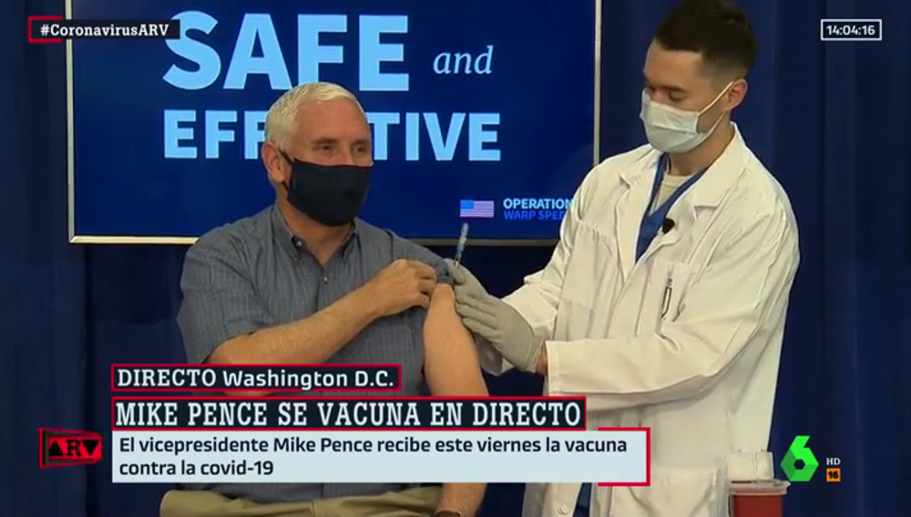 Mike Pence, vicepresidente de EEUU, se vacuna en directo contra el coronavirus