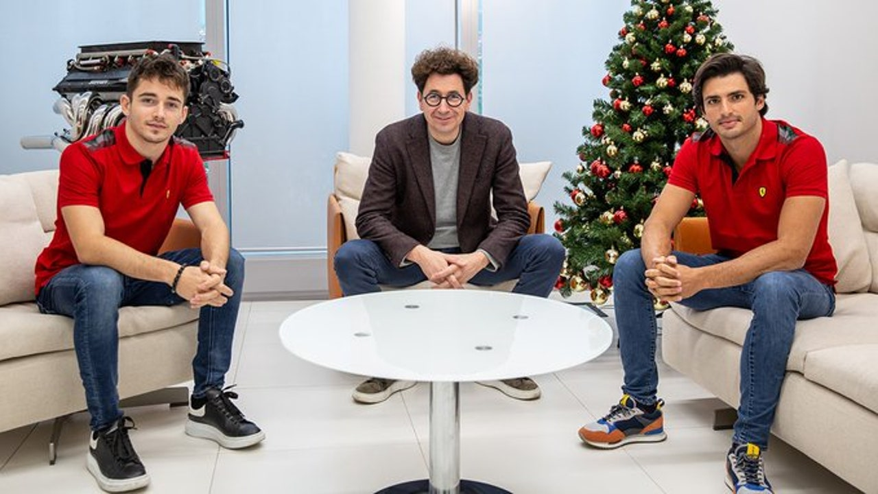 Leclerc, Binotto y Sainz