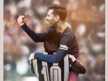 Abrazo entre Pelé y Messi