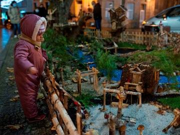 Vista del belén de Navidad de la localidad orensana de Allariz