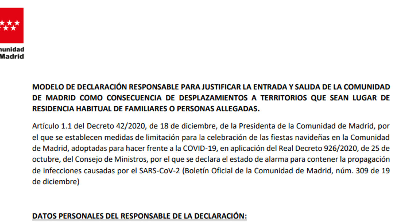 Modelo de declaración responsable para justificar la entrada y salida de la Comunidad de Madrid