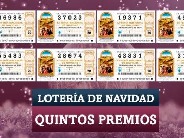Quintos premios de la Lotería de Navidad 2020