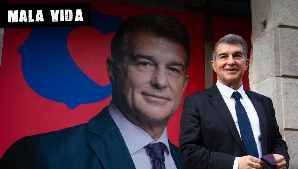Joan Laporta, frente al cartel de su candidatura para presidir el Barça