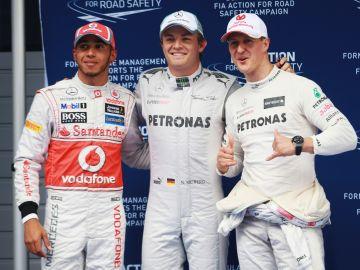 Lewis Hamilton, Nico Rosberg y Michael Schumacher