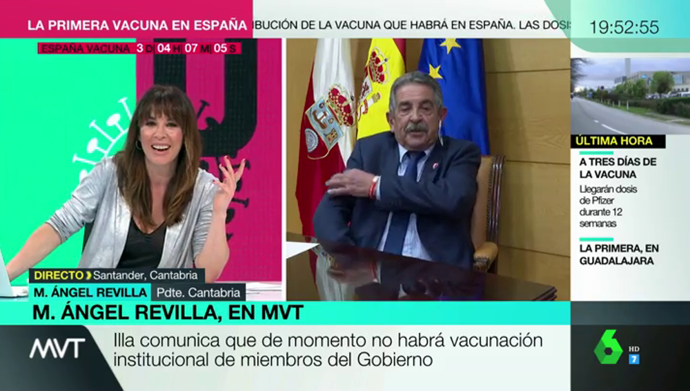 Revilla sorprende a Mamen Mendizábal afirmando que si le dejasen se pondría la vacuna en el plató de MVT