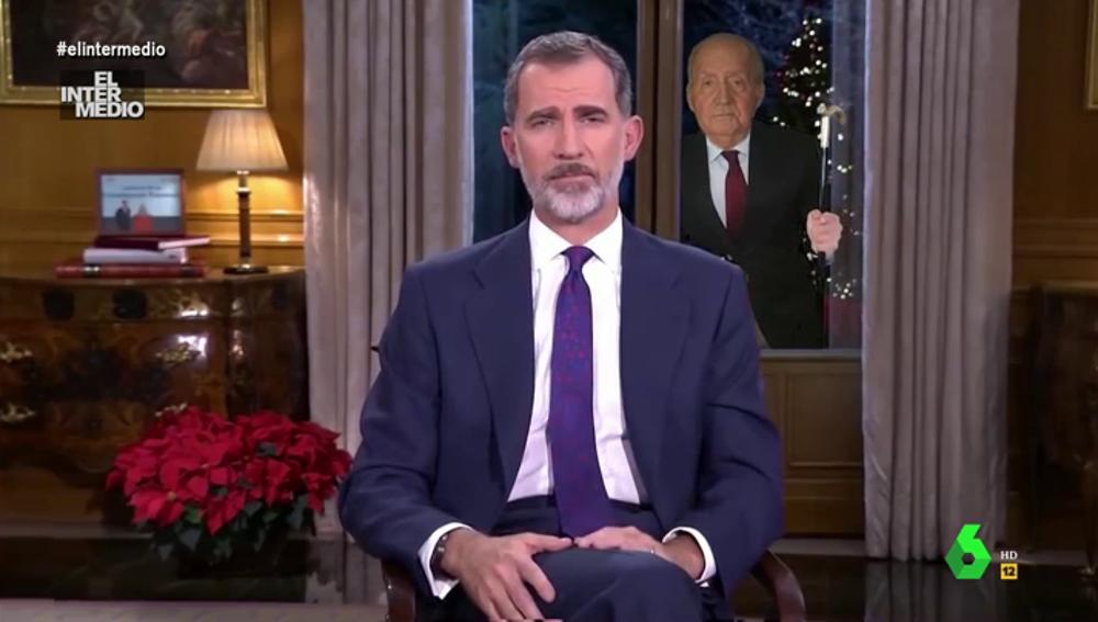El vídeo manipulado de Juan Carlos I intentando colarse en la Zarzuela durante el discurso del rey que se ha hecho viral