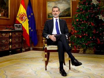 Felipe VI, durante su discurso de Nochebuena