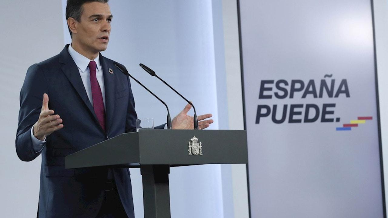 Pedro Sánchez en un comparecencia ante los medios