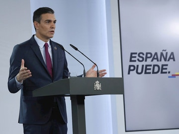 Pedro Sánchez durante una comparecencia en La Moncloa