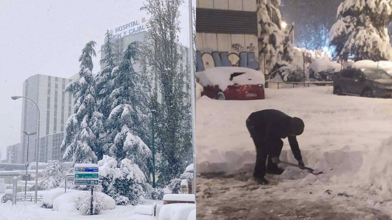 El exterior del hospital madrileño Ramón y Cajal durante dos momentos diferentes de la nevada.