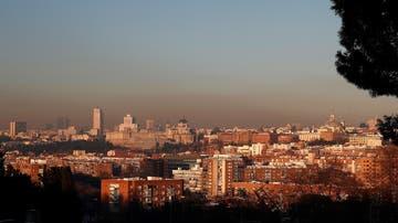 Vista de la boina de contaminación en Madrid tras el paso del temporal Filomena