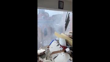 Imágenes desde el interior de la vivienda instantes después de la explosión