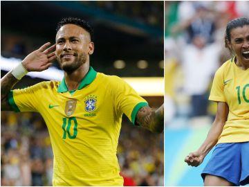 Neymar y Marta Vieira da Silva, jugadores de la selección brasileña de fútbol