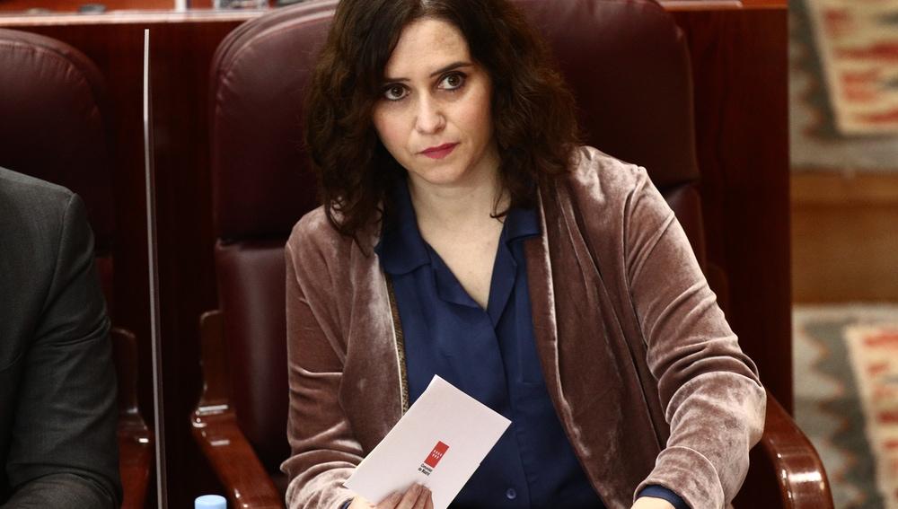Isabel Díaz Ayuso durante una sesión extraordinaria en la Asamblea de Madrid
