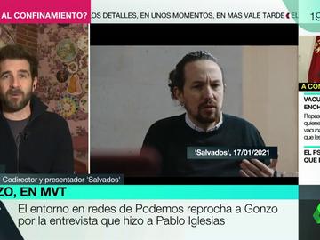 """Gonzo y la crítica en las redes de Podemos por la respuesta más controvertida de Iglesias: """"Volvería a hacer esa pregunta"""""""