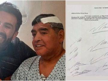 Hojas con la firma de Maradona falsificada en el domicilio de Leopoldo Luque