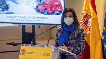La ministra de Defensa, Margarita Robles, en un acto de su departamento este viernes.