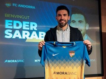 Eder Sarabia, con la camiseta del Andorra