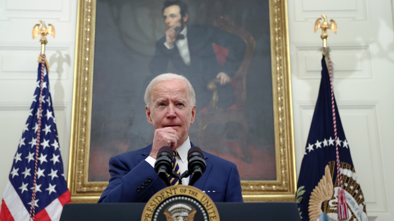 El presidente de Estados Unidos, Joe Biden, durante un discurso