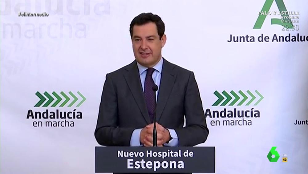 """La metáfora de Juanma Moreno sobre la desescalada: """"Es como los antibióticos, ha que tomarlos aunque los síntomas mejoren"""""""