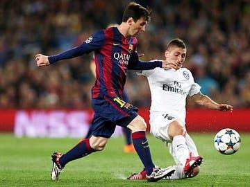 Marco Verratti y Leo Messi