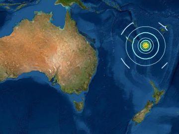 Epicentro del terremoto en el Pacífico Sur