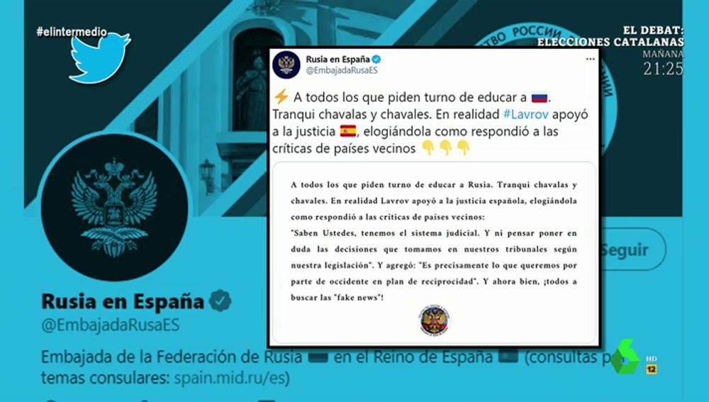 """El surrealista comunicado de la Embajada rusa tras la polémica por los presos del procés: """"Tranqui chavalas y chavales"""""""