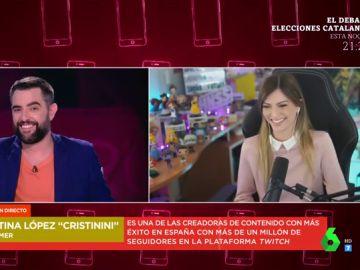 La reacción de la youtuber Cristinini cuando Dani Mateo se acuerda de Andorra en pleno directo