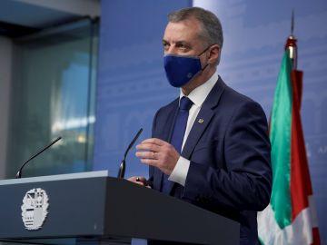 El lehendakari, Íñigo Urkullu, en una imagen durante la rueda de prensa