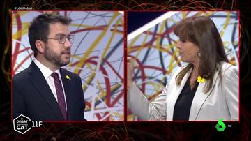 Pere Aragonès, candidato de ERC, y Laura Borràs, candidata de JxCAT, en el debate de laSexta