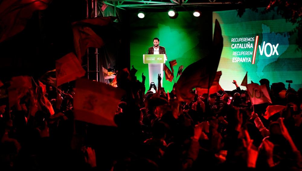 Garriga, durante el acto de final de campaña de Vox