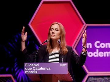 La candidata de En Comú Podem, Jéssica Albiach, durante el acto final de la campaña.