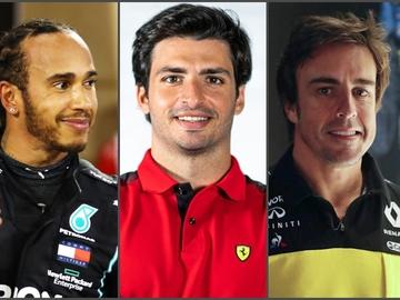 Lewis Hamilton, Carlos Sainz y Fernando Alonso
