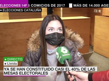 La presidenta de una mesa electoral habla para laSexta