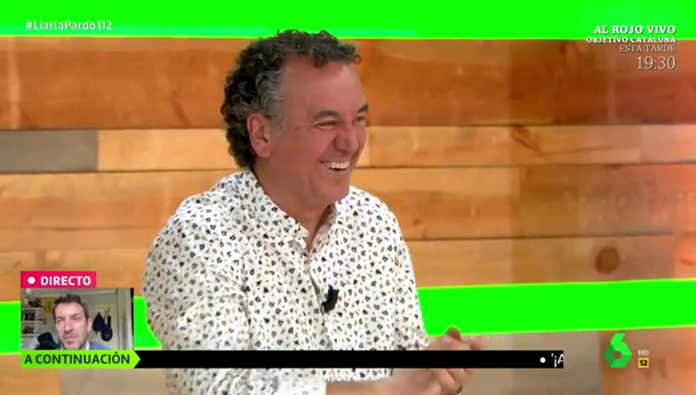 """El comentario de Brasero que hace estallar a Cristina Pardo en una carcajada: """"Me voy a poner rojo y no por los polvos"""""""