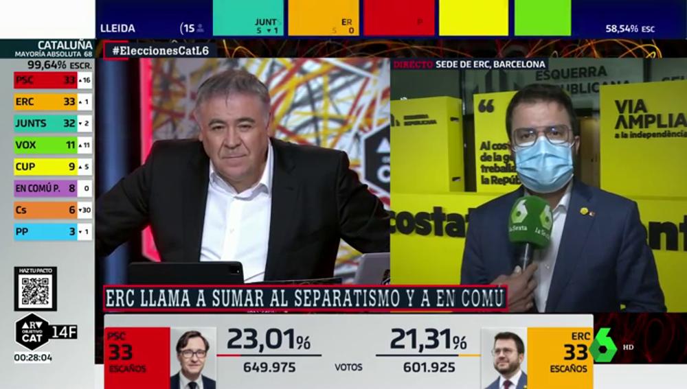 El candidato de ERC, Pere Aragonès