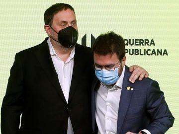 Oriol Junqueras y Pere Aragonès celebran los resultados en la sede de ERC