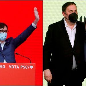 En la imagen, Salvador Illa (PSC) y Oriol Junqueras y Pere Aragonès (ERC)
