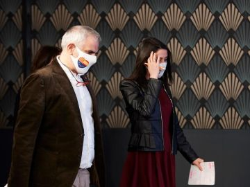 Carlos Carrizosa e Inés Arrimadas tras las elecciones del 14F