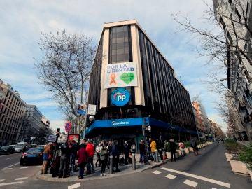 La sede del Partido Popular en la calle Génova.