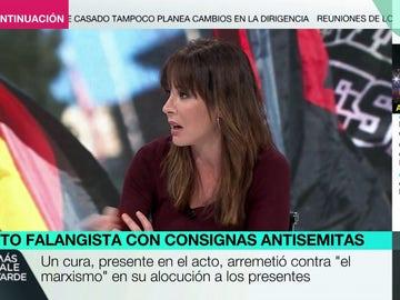 La reacción de Mamen Mendizábal ante las proclamas antisemitas de la joven neonazi en el homenaje a la División Azul