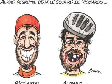Caricatura de Ricciardo y Alonso