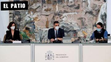 Calvo, Sánchez e Iglesias en el Consejo de Ministros