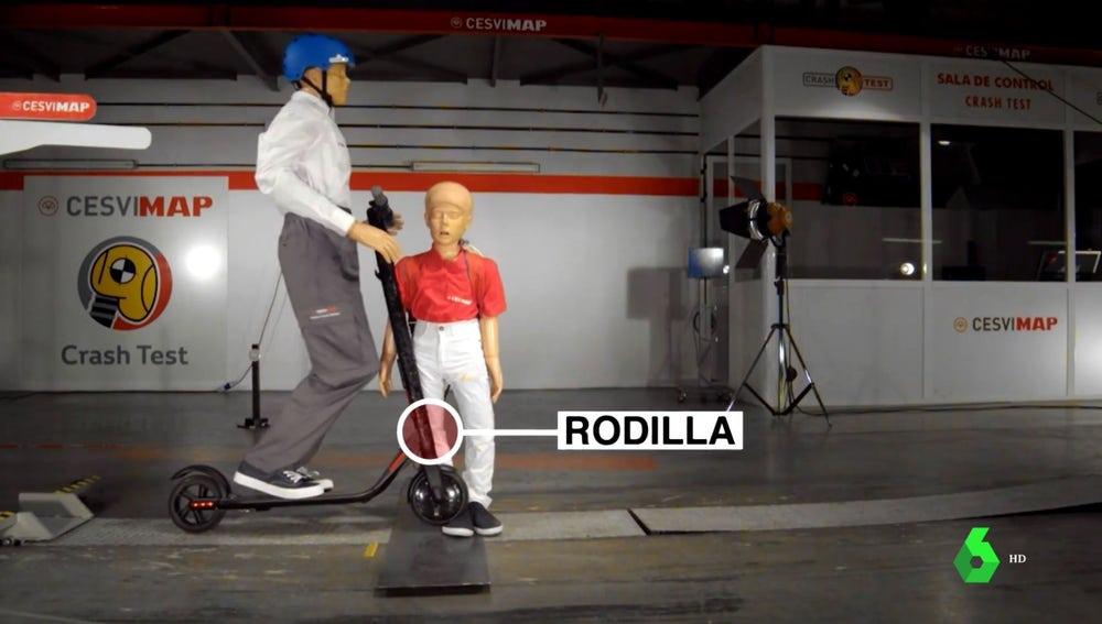 Prueba de seguridad vial de un atropello con patinete eléctrico