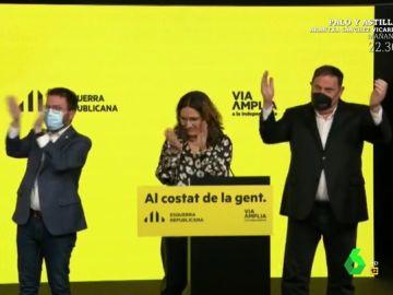 Vídeo manipulado - Lo que no se vio de las elecciones catalanas: así aplaudieron Aragonès y Junqueras a Illa