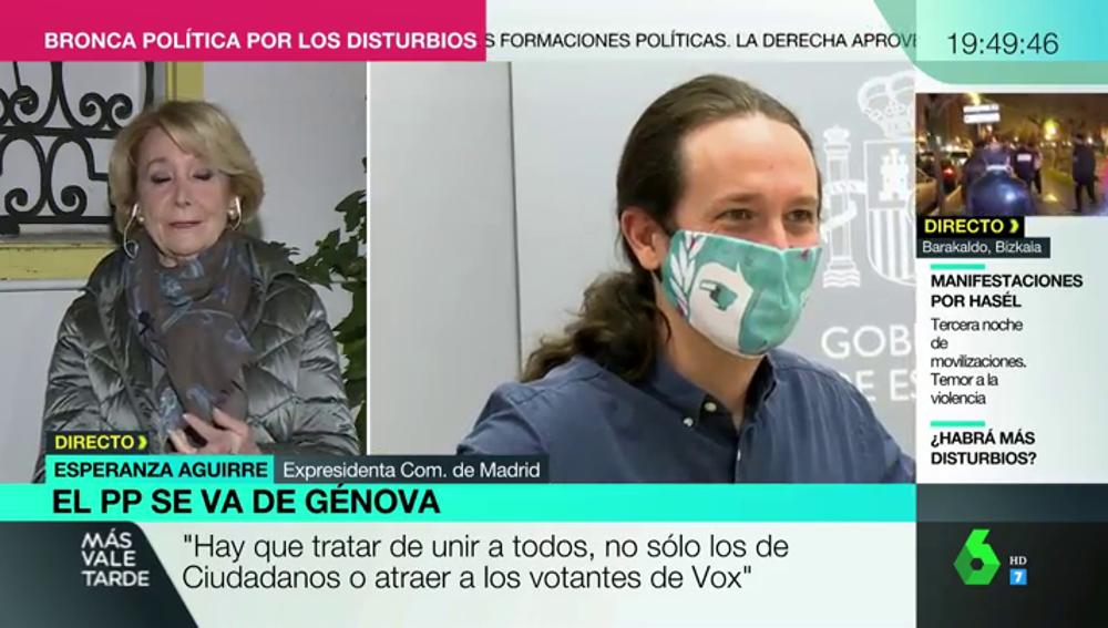 """Esperanza Aguirre:"""" No se puede tener de vicepresidente a un comunista que nos está desprestigiando constantemente"""""""