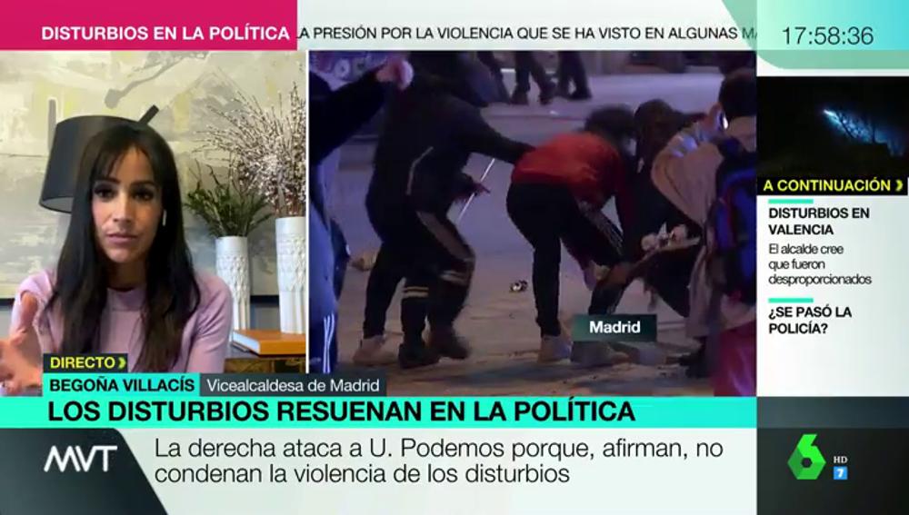 """La dura crítica de Begoña Villacís a Pablo Iglesias y Echenique: """"La violencia es injustificable"""""""